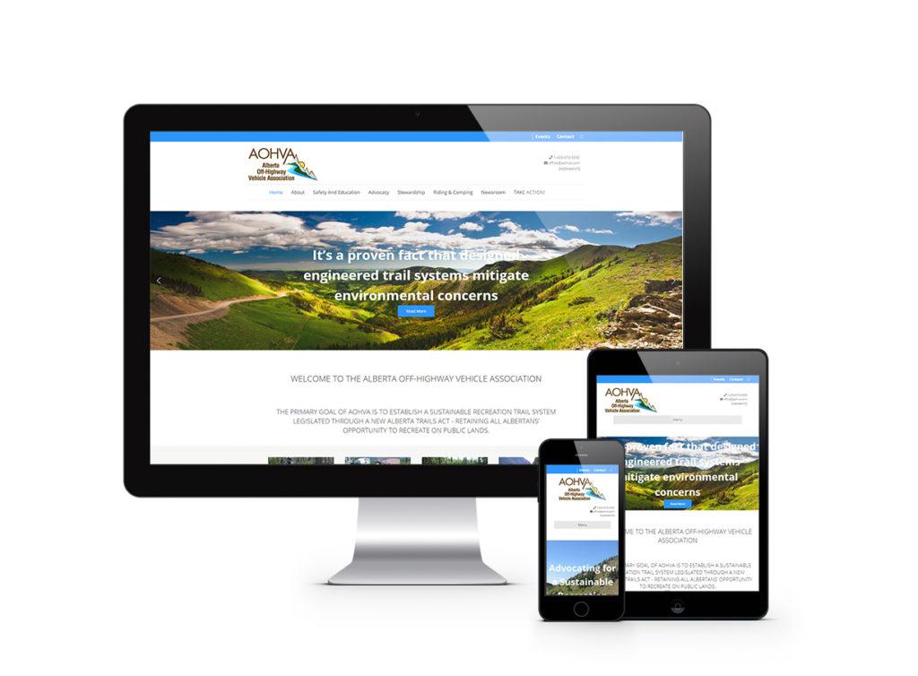 Alberta Off-highway Association website displayed on desktop, tablet and phone devices showing responsive website design